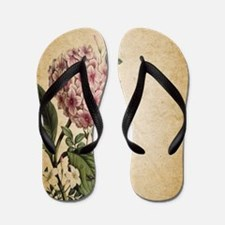 paris hydrangea  french botanical art Flip Flops