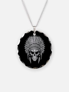 Dark Native Sugar Skull with Headdress Necklace