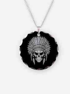 Dark Native Sugar Skull with Headdress Necklace Ci