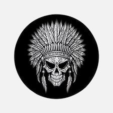 "Dark Native Sugar Skull with Headdress 3.5"" Button"