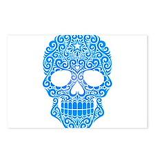 Blue Swirling Sugar Skull Postcards (Package of 8)