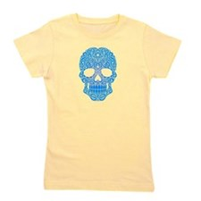 Blue Swirling Sugar Skull Girl's Tee