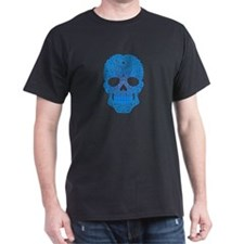 Blue Swirling Sugar Skull T-Shirt