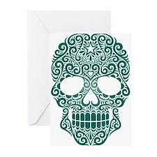 Teal Blue Swirling Sugar Skull Greeting Cards