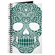 Teal Blue Swirling Sugar Skull Journal