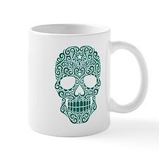 Teal Blue Swirling Sugar Skull Mugs