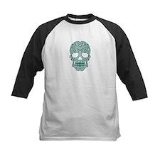Teal Blue Swirling Sugar Skull Baseball Jersey