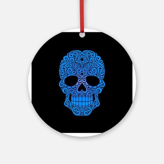 Blue Swirling Sugar Skull on Black Ornament (Round