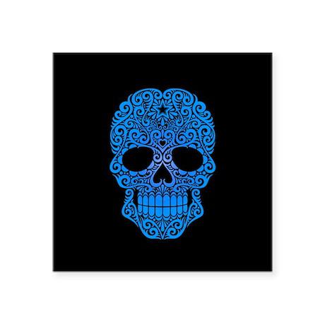 Blue Swirling Sugar Skull on Black Sticker