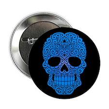 "Blue Swirling Sugar Skull on Black 2.25"" Button"