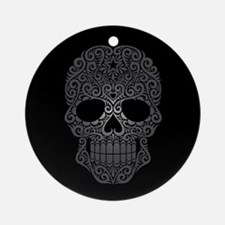 Gray Swirling Sugar Skull on Black Ornament (Round