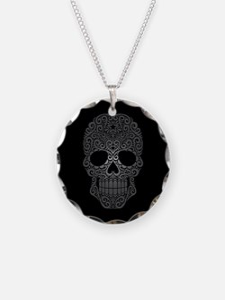 Gray Swirling Sugar Skull on Black Necklace