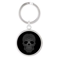 Gray Swirling Sugar Skull on Black Keychains