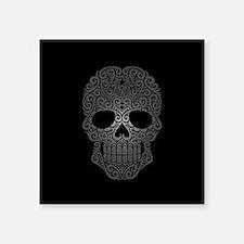 Gray Swirling Sugar Skull on Black Sticker