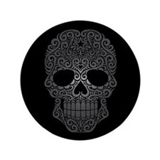 "Gray Swirling Sugar Skull on Black 3.5"" Button"