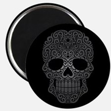 Gray Swirling Sugar Skull on Black Magnets