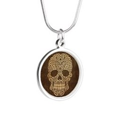 Scratched and Aged Swirling Sugar Skull Necklaces