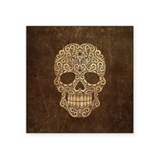 Scratched and Aged Swirling Sugar Skull Sticker