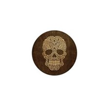 Scratched and Aged Swirling Sugar Skull Mini Butto