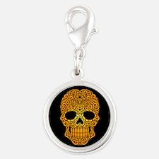 Yellow Swirling Sugar Skull on Black Charms
