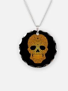 Yellow Swirling Sugar Skull on Black Necklace Circ