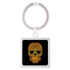 Yellow Swirling Sugar Skull on Black Keychains