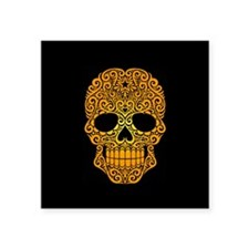 Yellow Swirling Sugar Skull on Black Sticker