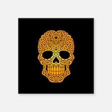 Yellow Swirling Sugar Skull on Black Sticker