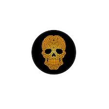 Yellow Swirling Sugar Skull on Black Mini Button (