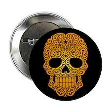 "Yellow Swirling Sugar Skull on Black 2.25"" Button"