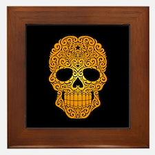 Yellow Swirling Sugar Skull on Black Framed Tile