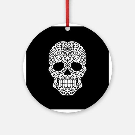 White Swirling Sugar Skull on Black Ornament (Roun