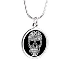 White Swirling Sugar Skull on Black Necklaces