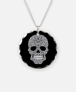 White Swirling Sugar Skull on Black Necklace Circl