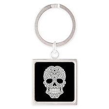 White Swirling Sugar Skull on Black Keychains