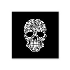 White Swirling Sugar Skull on Black Sticker