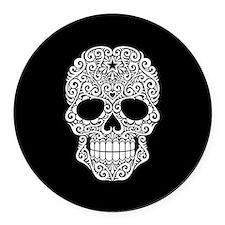 White Swirling Sugar Skull on Black Round Car Magn