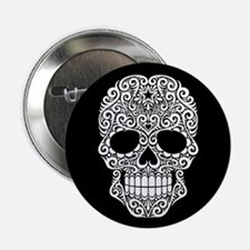 "White Swirling Sugar Skull on Black 2.25"" Button"