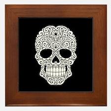 White Swirling Sugar Skull on Black Framed Tile
