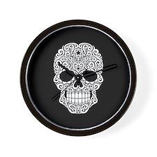 White Swirling Sugar Skull on Black Wall Clock