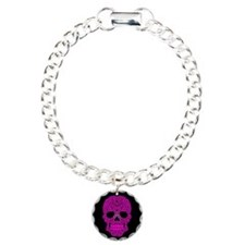 Pink Swirling Sugar Skull on Black Bracelet