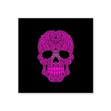 Pink Swirling Sugar Skull on Black Sticker