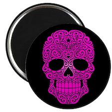 Pink Swirling Sugar Skull on Black Magnets