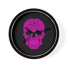 Pink Swirling Sugar Skull on Black Wall Clock