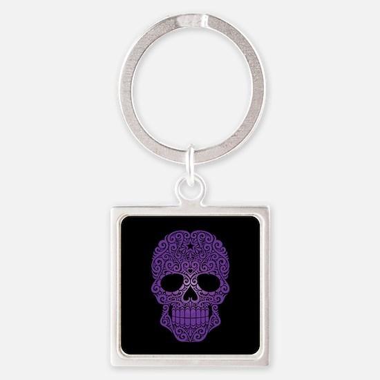 Purple Swirling Sugar Skull on Black Keychains