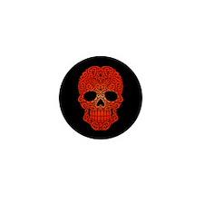 Red Swirling Sugar Skull on Black Mini Button (10