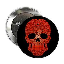 "Red Swirling Sugar Skull on Black 2.25"" Button"
