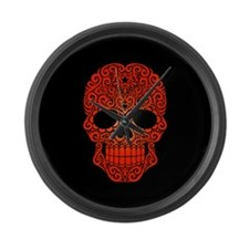 Red Swirling Sugar Skull on Black Large Wall Clock