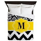 Damask black and white Queen Duvet Covers