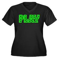 PLAY, SOCCER Women's Plus Size V-Neck Dark T-Shirt